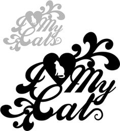 Silhouette Online Store - View Design #10394: 'i love my cat(s)' phrase set