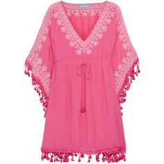 Melissa Odabash Annette embroidered voile kaftan ($140) ❤ liked on Polyvore featuring tops, tunics, pink, caftan tunic, embroidered tunic, embroidered kaftan, kaftan tops and pink top