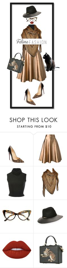 """""""Cat Lady"""" by nisak-tf ❤ liked on Polyvore featuring Christian Louboutin, Merchant Archive, Brandon Maxwell, Roberto Cavalli, Vince Camuto, Lime Crime and Dolce&Gabbana"""