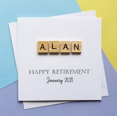 Personalised retirement card Happy retirement Scrabble card | Etsy Scrabble Cards, Wooden Scrabble Tiles, Happy Retirement, Retirement Cards, Anniversary Cards For Wife, Leaving Cards, Birthday Cards For Him, Personalized Birthday Cards, Wife Birthday