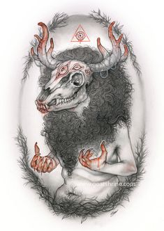 Horror Drawing, Ancient Mythology, Mythical Monsters, Drawings, Art Contest, Wolf Art, Animal Skulls, Mythical Creatures Art, Wendigo