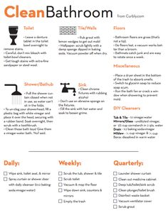 Bathroom Cleaning Cheat Sheet and Checklist. Add to spring cleaning! Grand Menage, House Cleaning Tips, Bathroom Cleaning Checklist, Cleaning Schedules, Cleaning Bathrooms, Deep Cleaning Checklist, Deep Cleaning Tips, Kitchen Cleaning, Apartment Cleaning Schedule