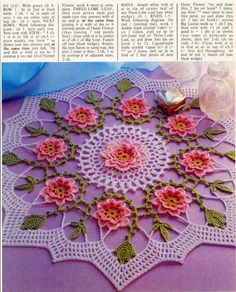 toalha de croche com flores