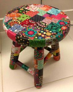 Decoupage Furniture, Funky Furniture, Art Furniture, Whimsical Painted Furniture, Hand Painted Furniture, Aztec Decor, Boho Decor, Hand Painted Stools, Cool Chairs