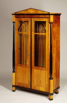 A petite Biedermeier bookcase, bookmatched cherry veneer with tapered columns with ebonized detailing, Austria, Furniture Styles, Unique Furniture, Rustic Furniture, Vintage Furniture, Furniture Design, Furniture Storage, Baroque, Renaissance, Bookcases For Sale