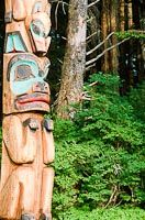 Native carved totem poles line the totem park for locals and tourists to enjoy, while walking through the cool temperate rainforest. Alaska Trip, Alaska Travel, Halibut Fishing, Asia Continent, Totem Poles, Continents, Native American, Masks, Walking