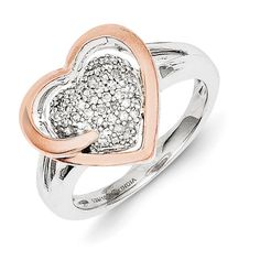 Sterling Silver & 14k Gold Diamond Heart Ring QR5839