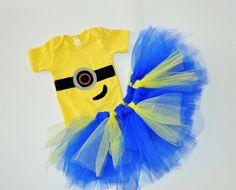 Girl Minion tutu outfit. Minions girls birthday by RYLOwear