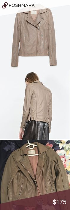 ZARA Biker Leather Ref 4720/221   Real Leather   Taupe Grey Zara Jackets & Coats