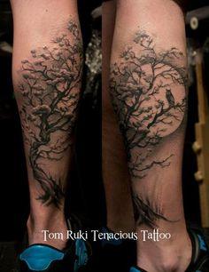 Tom Ruki - Tenacious Tattoo — Custom Tattoo design by Tom Ruki For bookings and. Tree Leg Tattoo, Tree Sleeve Tattoo, Forearm Tattoos, Body Art Tattoos, Sleeve Tattoos, Tattoo Moon, Trendy Tattoos, Tattoos For Guys, Tattoos For Women