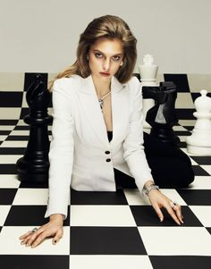 Your Own Game – Svetlana Zakharova poses on an oversized chessboard for the April issue of Elle Russia. Photographer Nikolay Biryukov captures the blonde beauty… Conceptual Photography, Makeup Photography, Svetlana Zakharova, Elle Fashion, Model Foto, Formal Suits, Blonde Beauty, Male Models, Style Me