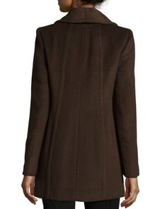 Annabelle Button-Front Coat, Chocolate