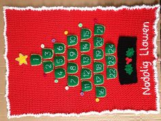 Crocheted advent calendar (nadolig llawen is Merry Christmas in welsh)