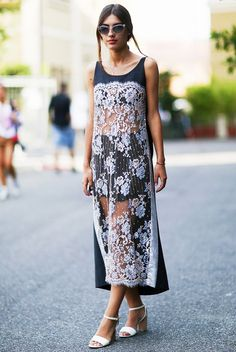 Sheer lace panel dress with striped shorts and strappy sandals