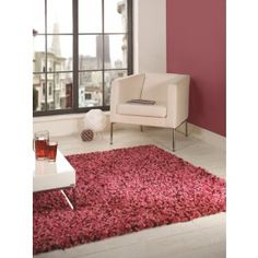 Pink Shaggy Rug. This rug is spaced dyed and gives a modern feel to any room http://www.therughouse.co.uk/shaggy-rugs