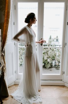 CAMILLE // From the 'It Takes Two' Collection. Ivory georgette drop waist wedding dress with embroidered flutter sleeves and back detail. ______________ Image by Drop Waist Wedding Dress, Wedding Dresses, Bespoke Design, Flutter Sleeve, Unique Weddings, Service Design, Ivory, Detail, Sleeves