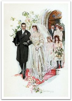 "Just Married! ~ Illustration by Howard Chandler Christy from the book, ""Two Lovers"", 1909"