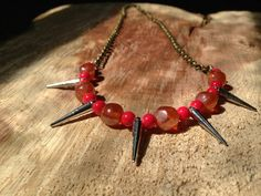 Vibrant Spike Statement Necklace by NaturalGLOdesigns on Etsy