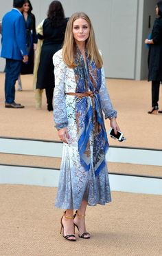 Trend of Tucking Scarf Into The Belt Olivia Palermo at Burberry Prorsum SS2015 fashion show