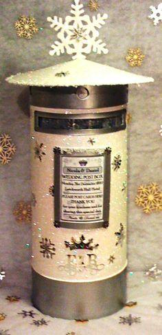 Winter, Christmas, Glitter Wedding Post Box,Pillar box with 3D Snowflakes, Buy