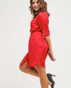 Dorothy Perkins Curve Sukienka plus size czerwona koszulowa red