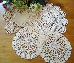 4 Doilies Doily Crocheted Doily Ecru Vintage Doilies  B231 by treasurecoveally on Etsy