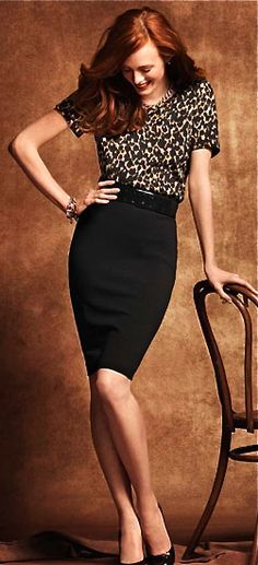 Black Pencil Skirt+ Fun Pattern Blouse. Shoe in for success!