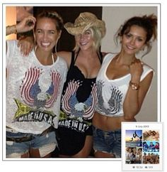 "Julianne Hough and bff Nina Dobrev wearing the ""Daria-Asymmetrical Mini Tank Dress-LRG Color USA Eagle"" and ""Dana-Asymmentrical Sleeveless V-Neck-USA Eagle"" on Instagram while vacationing in Turks & Caicos."