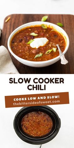 Easy Slow Cooker Chili with homemade seasoning and robust flavor! Packed with protein and perfect for a weeknight dinner!   The Bitter Side of Sweet Slow Cooker Chili, Best Slow Cooker, Slow Cooker Recipes, Delicious Dinner Recipes, Lunch Recipes, Easy Weeknight Meals, Quick Easy Meals, Food Dishes, Yummy Dinner Recipes