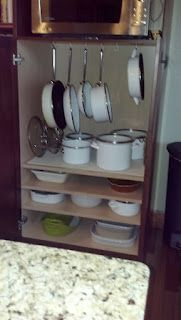 Clean and organized pots and pans
