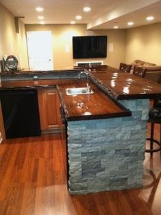 New reclaimed wood bar top subway tiles Ideas House, Kitchen Bar, Wood Slab, Countertops, Home, Home Bar Designs, Wood Bar Top, Bars For Home, Basement Design