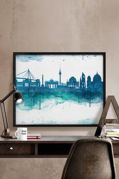 Berlin print, Berlin watercolor, poster, skyline, Deutschland, Germany, travel, wall art, Home Decor, blue, teal, city prints, iPrintPoster.