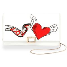 Roger Vivier Love Tattoo Mini Buckle Wallet-on-Chain (30 580 UAH) ❤ liked on Polyvore featuring bags, wallets, white, mini chain bag, heart wallet, flap wallet, white wing bags and chain shoulder bag