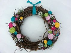 Bright Spring Floral Wreath with fabric flowers