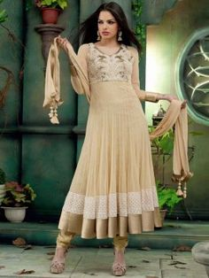 Light Cream Net Anarkali Suit With Embroidery And Handwork www.saree.com