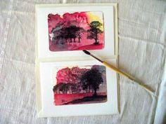 Grußkarte Sammlerkarte  Landschaft  handgemalt  von ArtRuthTrinczek