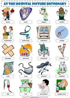 English Vocabulary - at the hospital - Inglés
