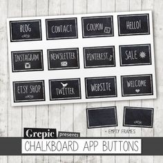 """Facebook tab images: """"CHALKBOARD APP BUTTONS"""" chalkboard style facebook tab images social media icons and buttons for facebook page"""