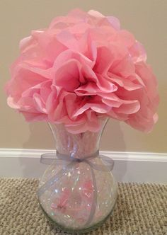 Charming Girl Baby Shower Centerpiece Using A Vase, Small Plastic Rattle And Bottle,  Iridescent Basket