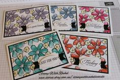 A set of 5 cards I made using stampin up garden in bloom stampset. 5 different colours with different greetings. STAMP WITH RACHEL