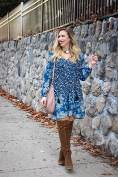 Thanksgiving Outfit   Blue Boho Dress Vince Camuto Melaya Over the Knee Bark Suede Boots Blush Hobo Bag Fall Casual Outfit Living After Midnite Fashion Jackie Giardina - cheap bag shops, black womens bag, personalised bags *ad