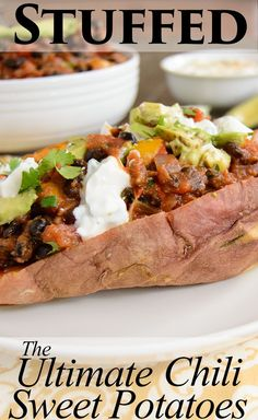 The Ultimate Chili Stuffed Sweet Potatoes - perfect for weeknights! The BEST way to use leftover chili! Kids love these! Gluten free, vegan and so simple to make!