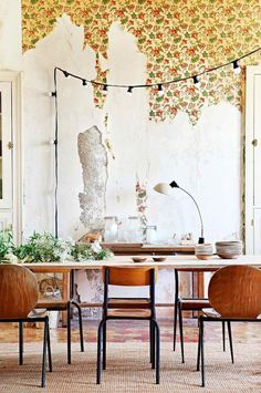 my scandinavian home: Relaxed Contemporary Meets Old School Charm In A French Chateau - vintage wallpaper and chairs, string lights in the dining area. Deco Addict, Deco Boheme, Interior Decorating, Interior Design, Interior Styling, Bohemian Interior, Decorating Ideas, Decor Ideas, Rustic Contemporary