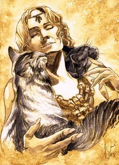 Goddess Freya with two kittens given by Thor
