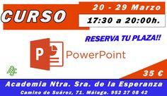"""¡Para el 20 de Marzo, curso de POWERPOINT! """"Realiza diferentes tipos de presentaciones"""" PLAZAS LIMITADAS #malaga #malagaemplea"""