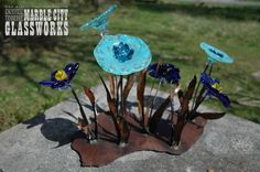 Blue Glass and Metal Flowers