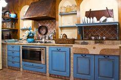 Cucina in muratura vintage blu decapato | Idee*casa | Pinterest ...