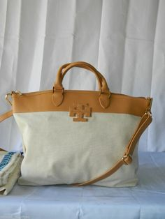 Tory Burch Stacked T Large Satchel Bag Vachetta Leather & Linen $395