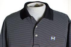 Peter Millar Summer Comfort Kinloch Mens L Black White Stripe Polo Golf Shirt  #PeterMillar #PoloRugby