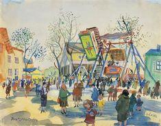 Oskar Laske : Galerie bei der Albertina Photo Art, Park, Painting, Artworks, Watercolor, Pictures, Painting Art, Parks, Paintings